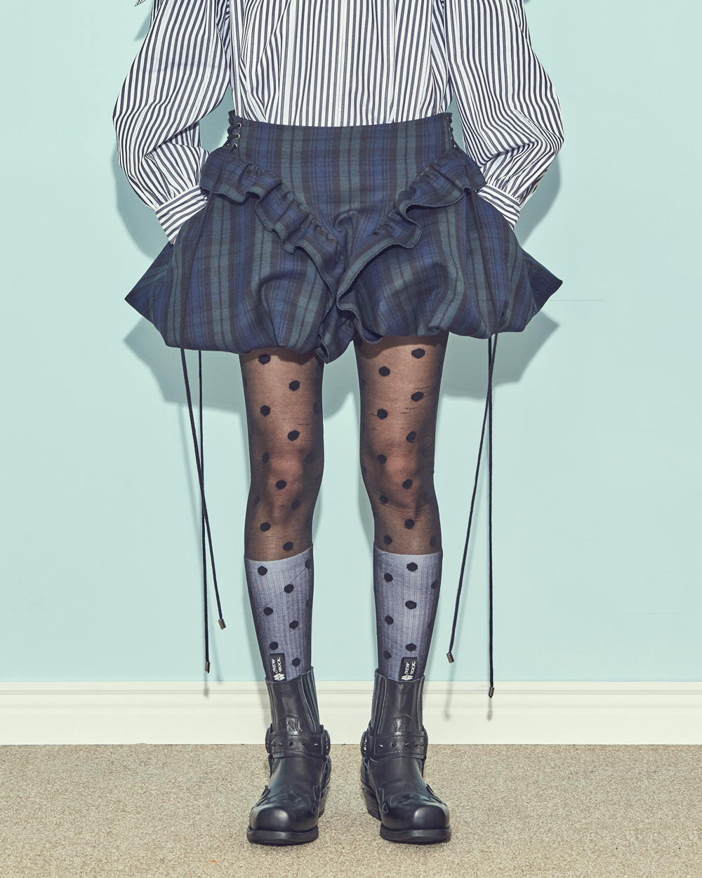 FW19 MINI BALLOON CHECK SKIRT
