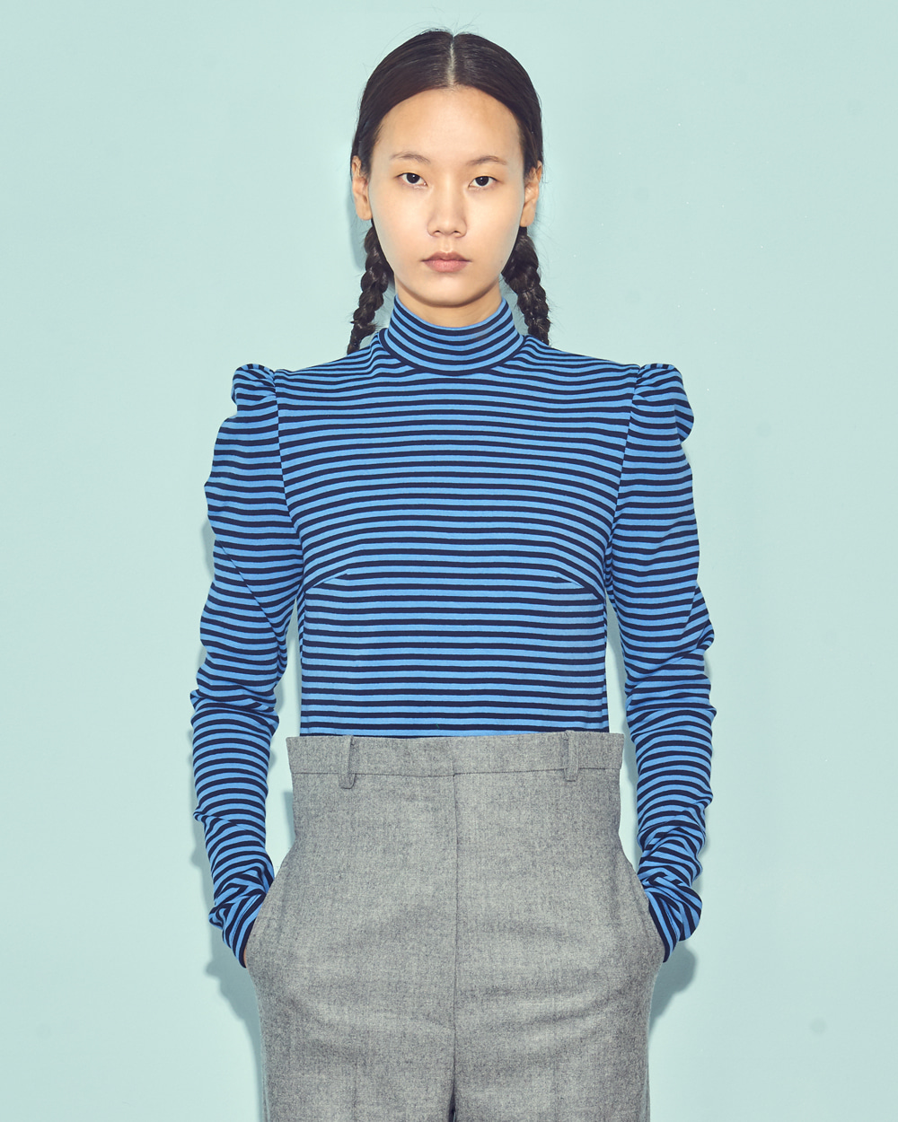 FW19 STRIPE HIGH NECK TOP