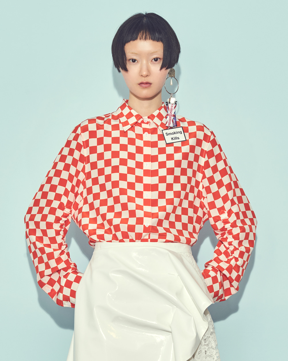 FW19 SHIRRED SLEEVED CHESS CHECK SHIRT