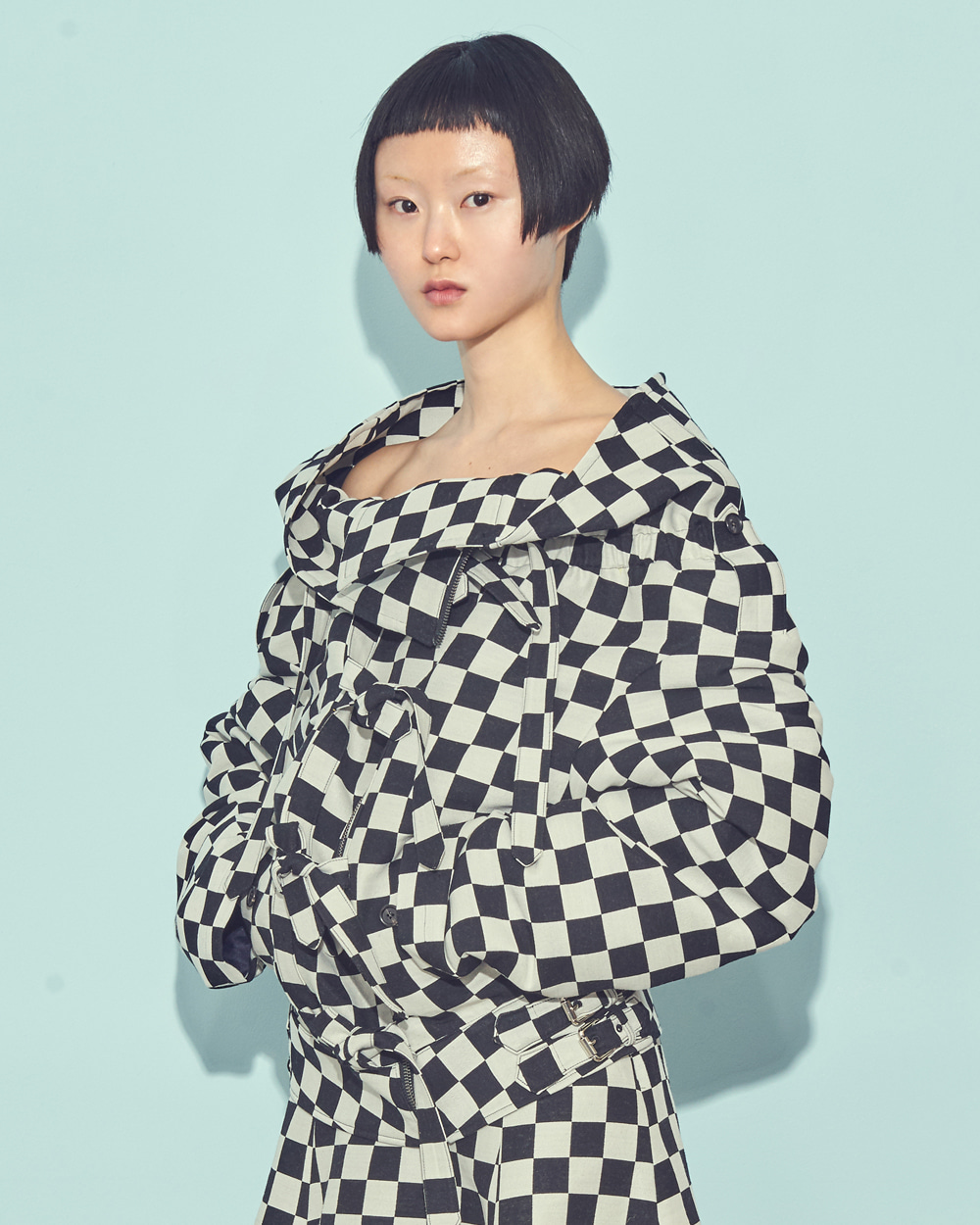 CHESS CHECK OFF-SHOULDER JUMPER