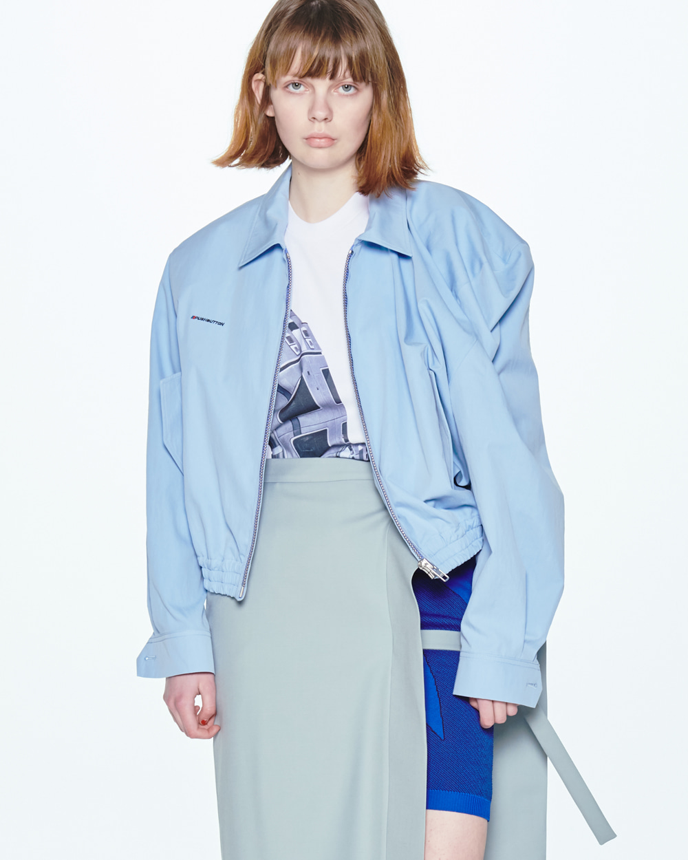 SS20 UNBALANCED SHOULDER BLUE JUMPER
