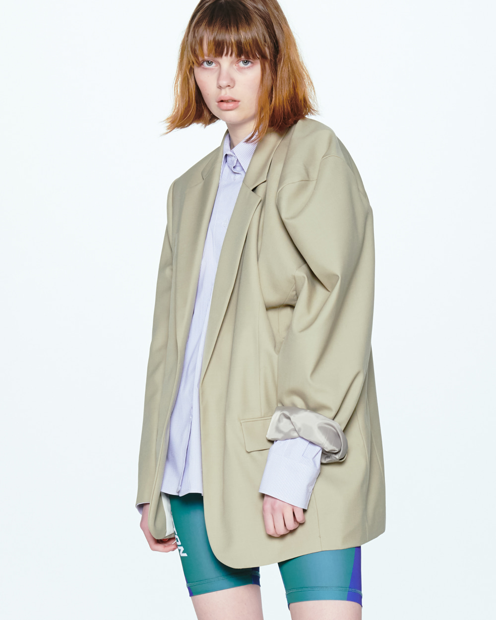 UNBALANCED SHOULDER KHAKI JACKET