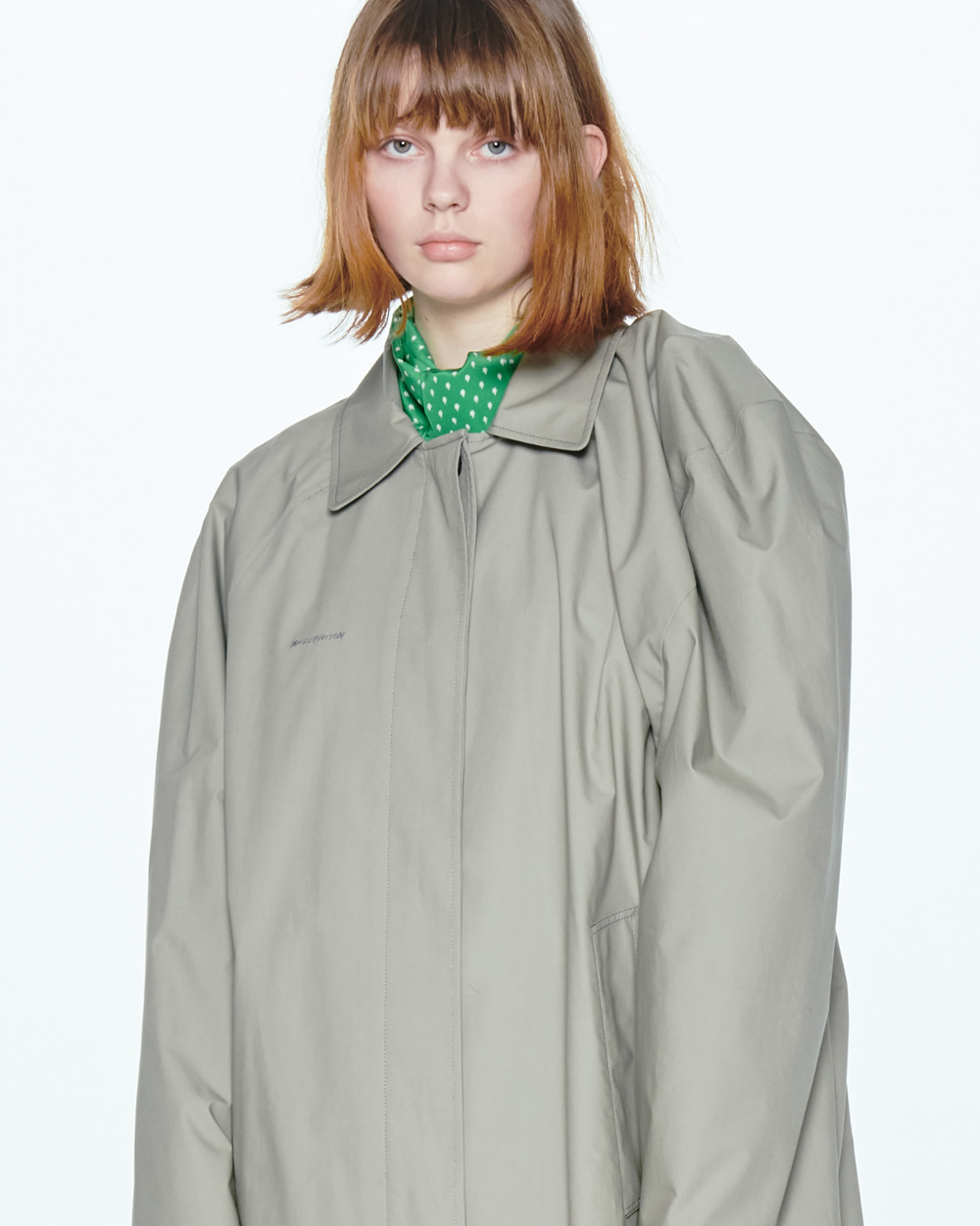 SS20 UNBALANCE SHOULDER GRAY COAT
