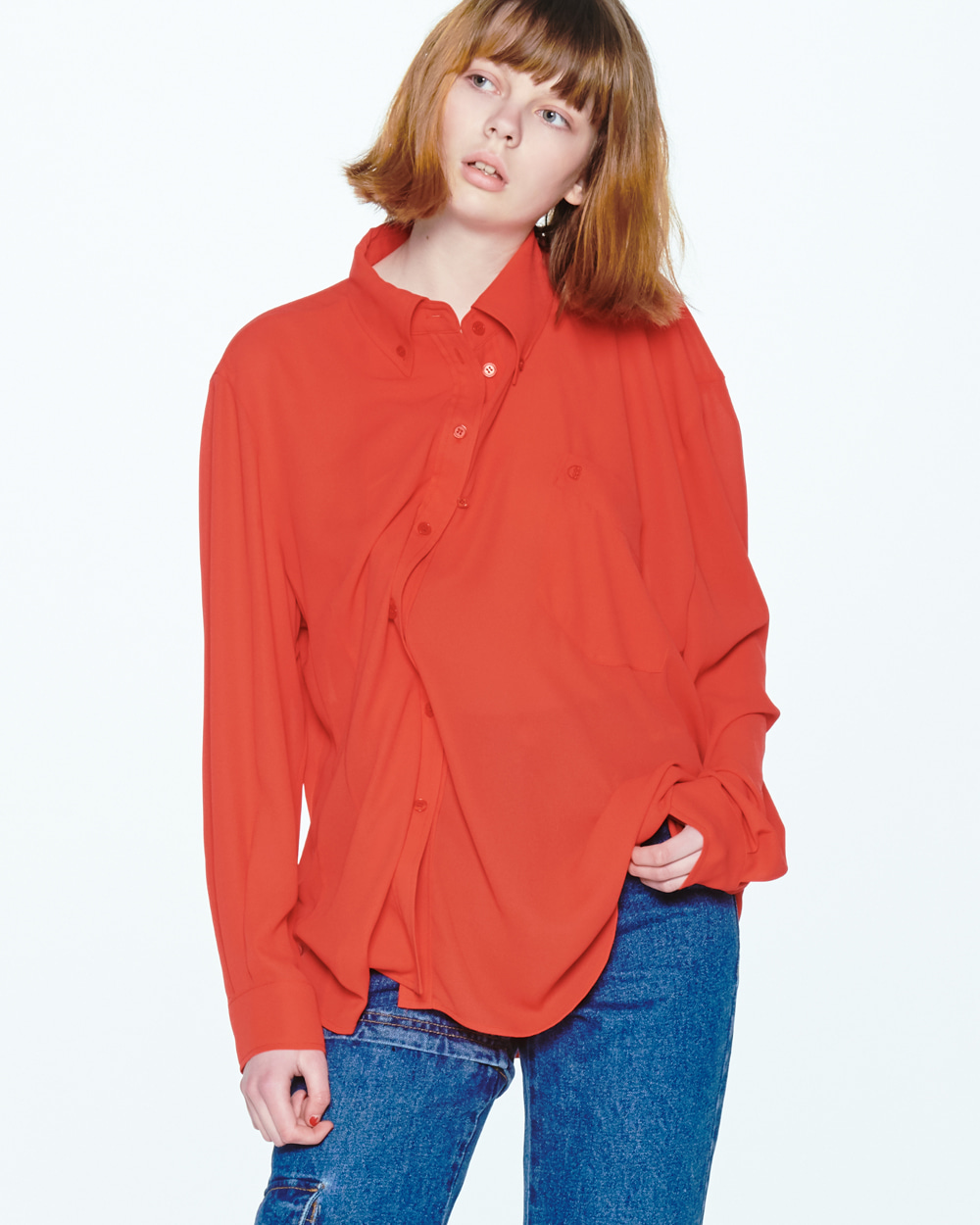 SS20 UNBLANCE SHOULDER RED SHIRT