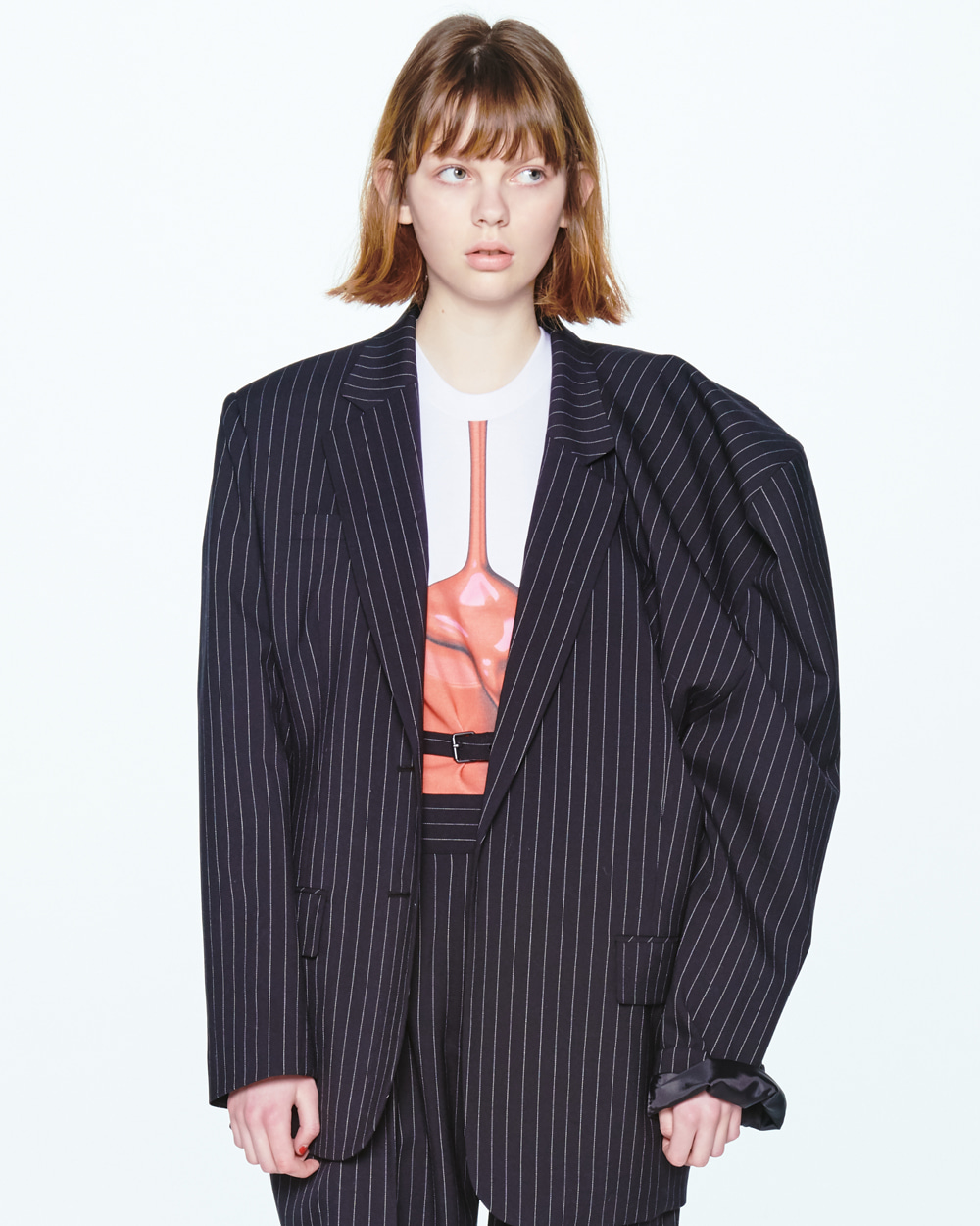 UNBALANCED SHOULDER STRIPE JACKET