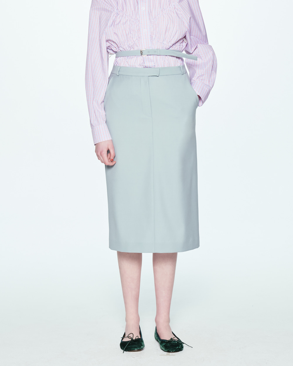 SS20 HIGH WAIST BELTED GRAY SKIRT
