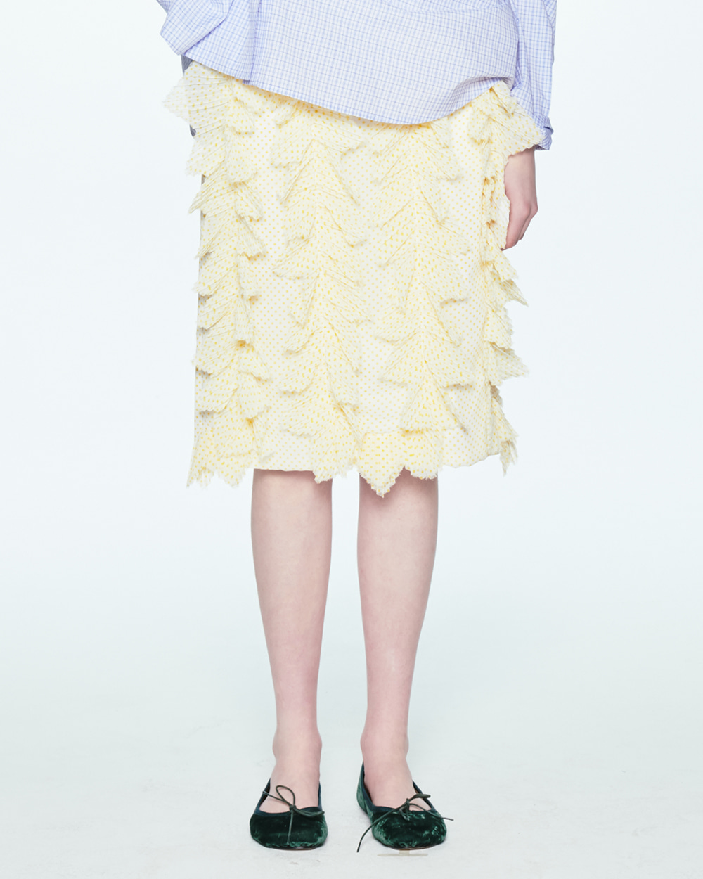 SS20 PLEATS FRILL DOT SKIRT