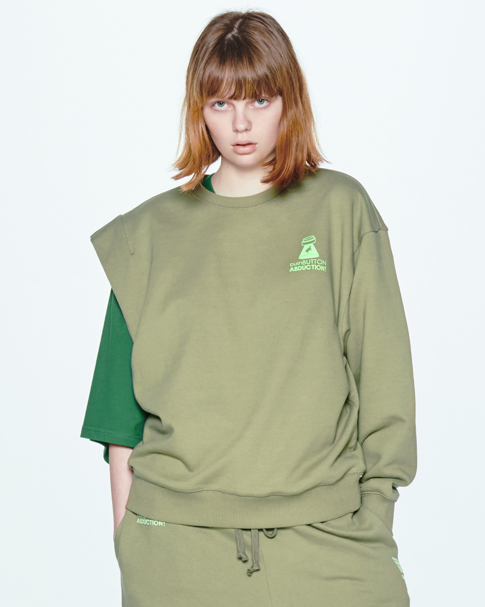 UNBALANCE SLEEVEED KHAKI SWEAT SHIRT
