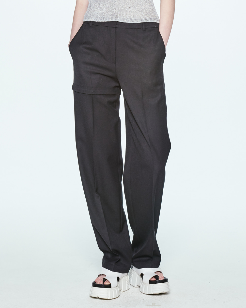 SS20 TRANSFORMER TWO-WAY BLACK PANTS