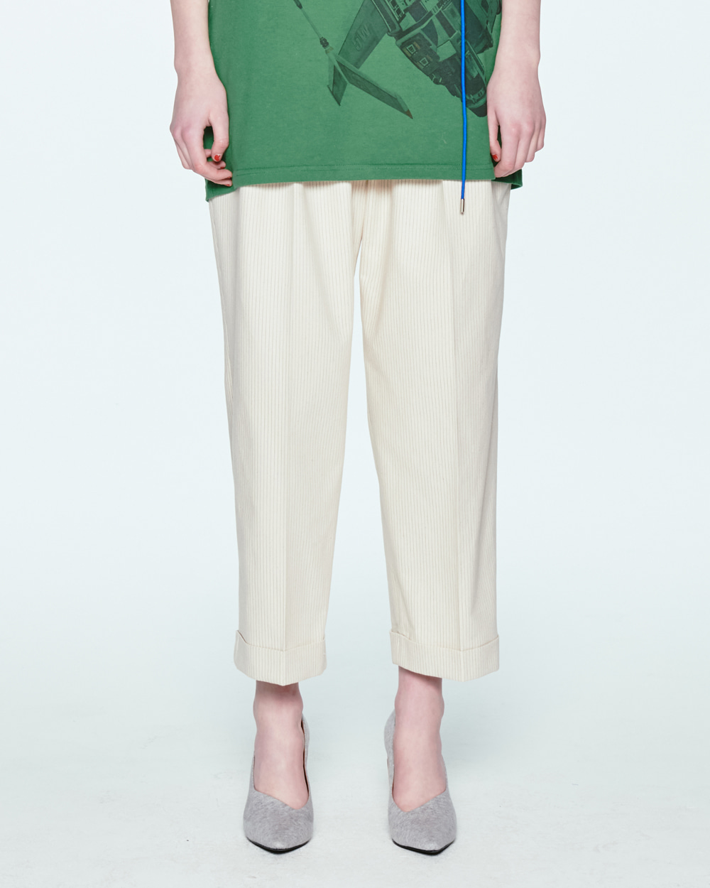 HIGH WAIST BELTED IVORY PANTS