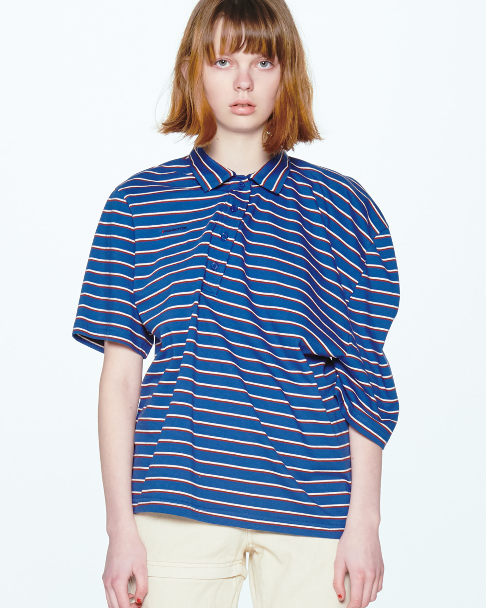 UNBALANCE SHOULDER STRIPE PIQUE SHIRT