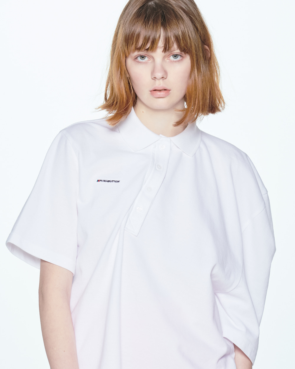 UNBALANCE SHOULDER WHITE PIQUE SHIRT