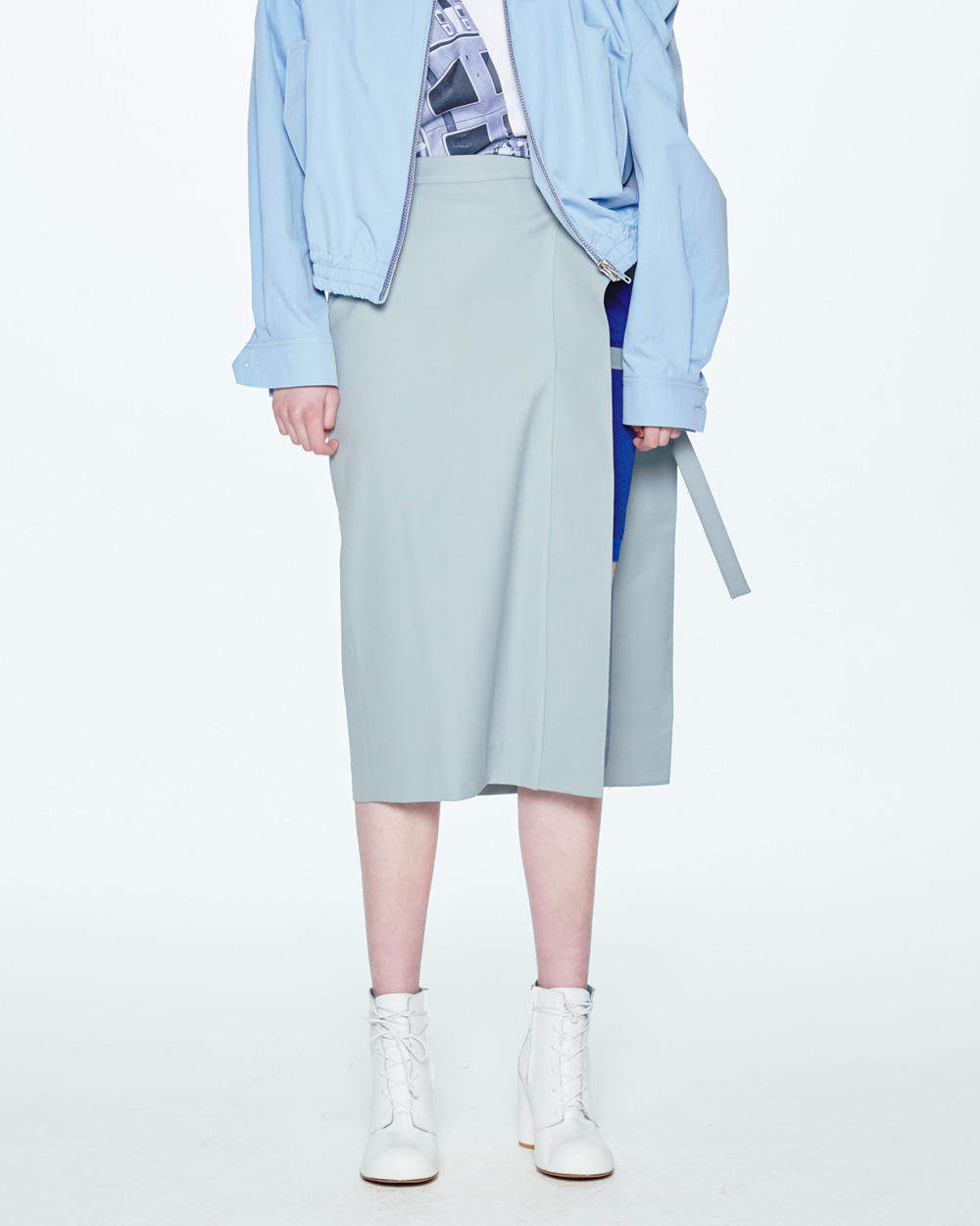 SS20 SIDE OPEN GREY SKIRT
