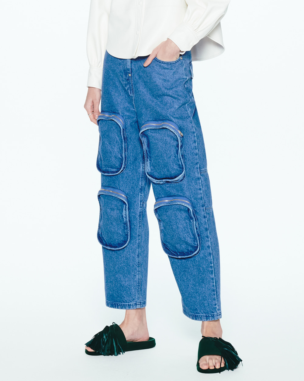 MULTI POCKETS DENIM JEANS