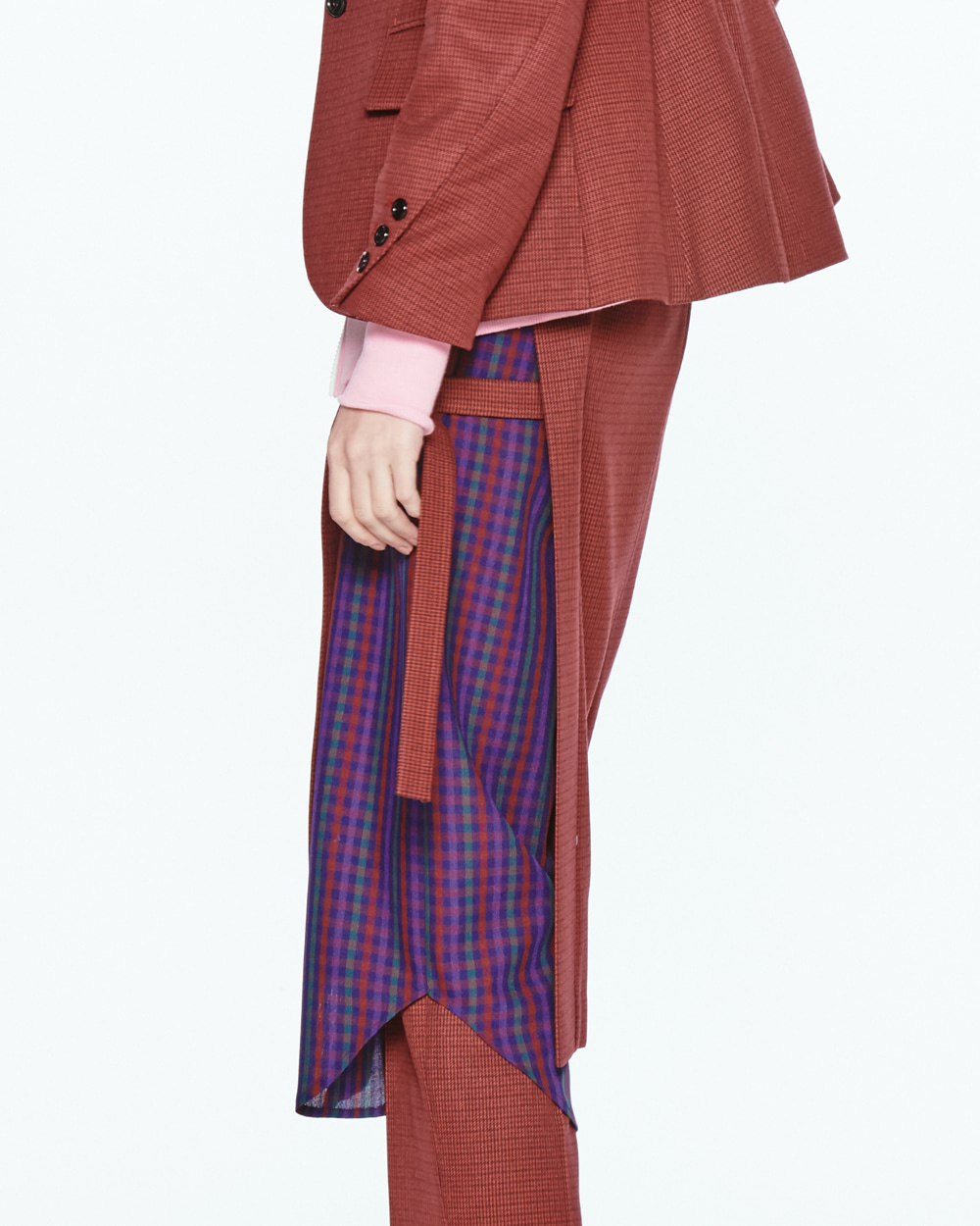 PF20 LAYERED CHECK SIDE OPEN SKIRT