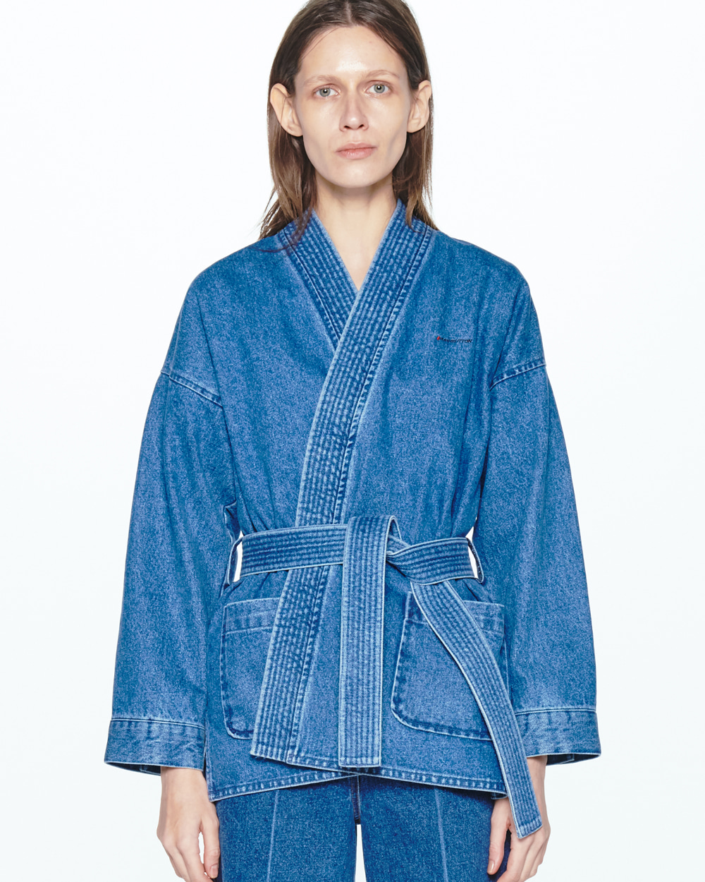 WRAP-OVER BELTED DENIM JACKET