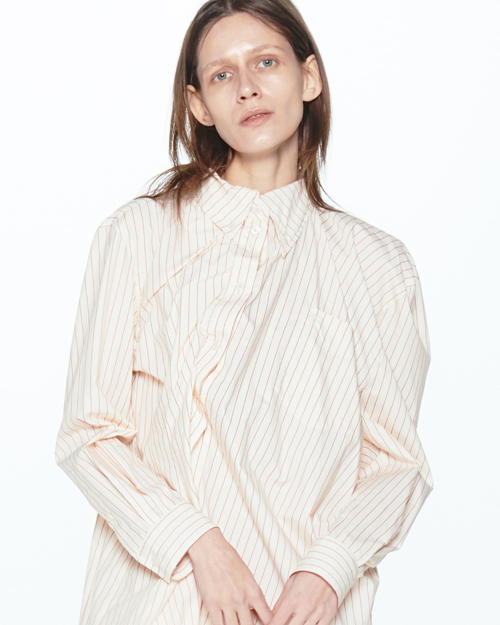 PF20 ASYMMETRIC STRIPE SHIRT DRESS