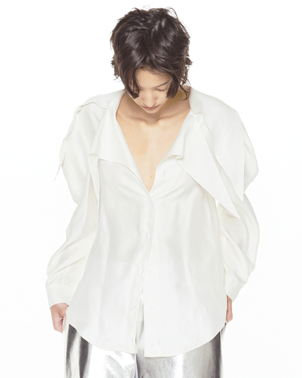 FW20 DOUBLE POINTY COLLAR WHITE BLOUSE