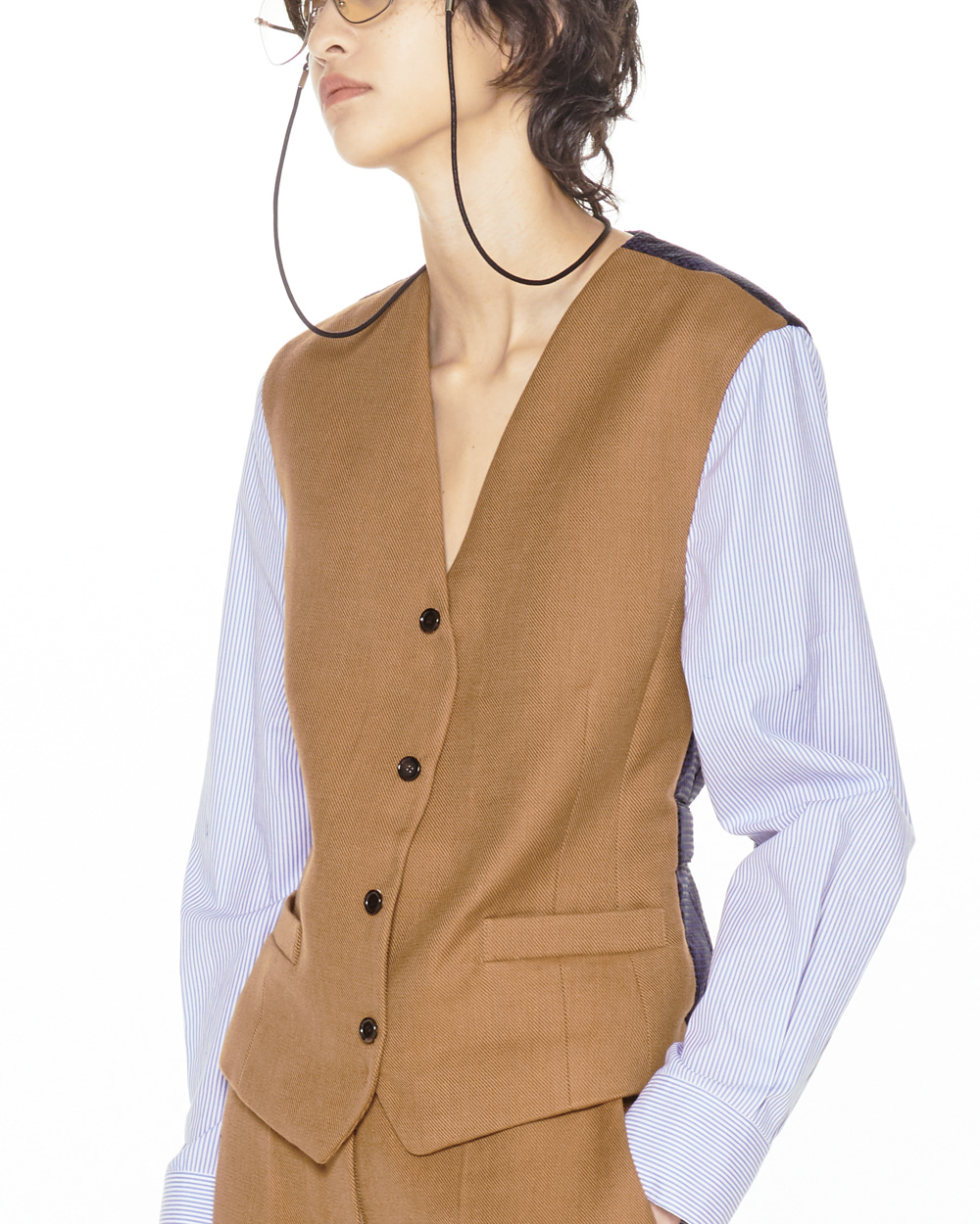 FW20 VEST MIX BROWN SHIRT