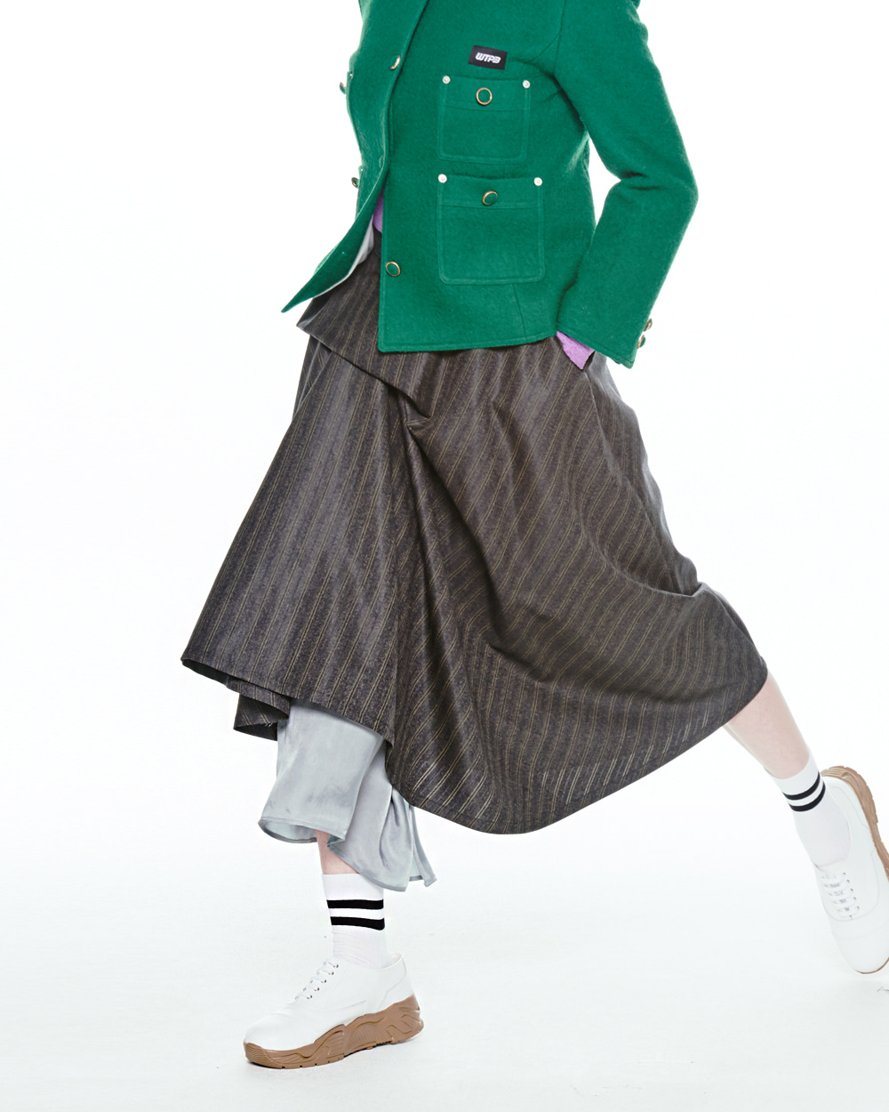 FW20 UNBALANCE TUCKED STRIPE SKIRT