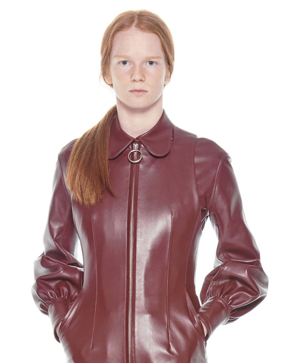 FW20 CURVE COLLAR LEATHER SHIRT
