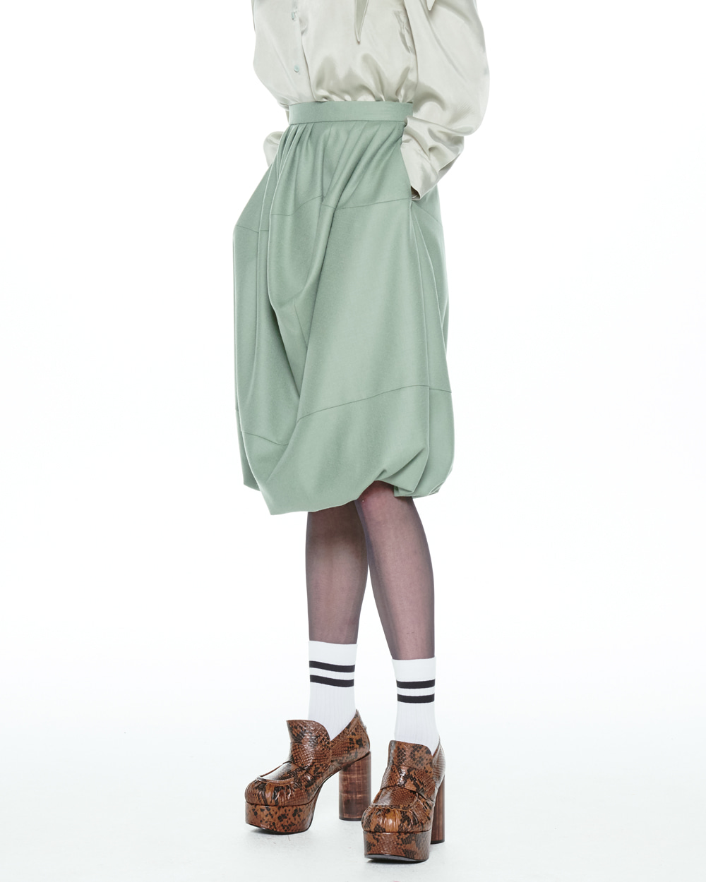 FW20 CONCAVE BALLOON MINT SKIRT