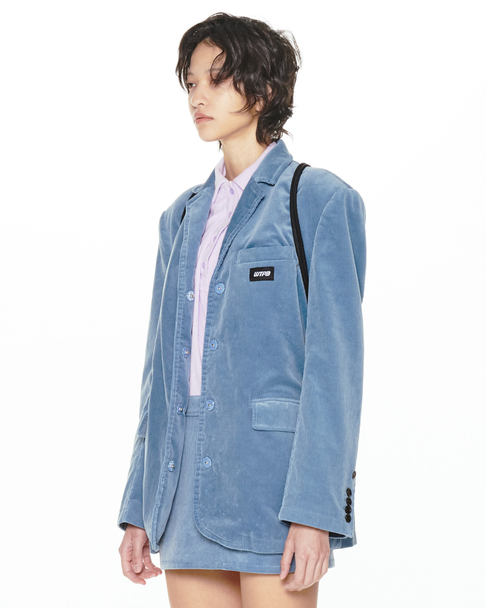 FW20 HIDDEN BUTTON CORDUROY BLUE JACKET