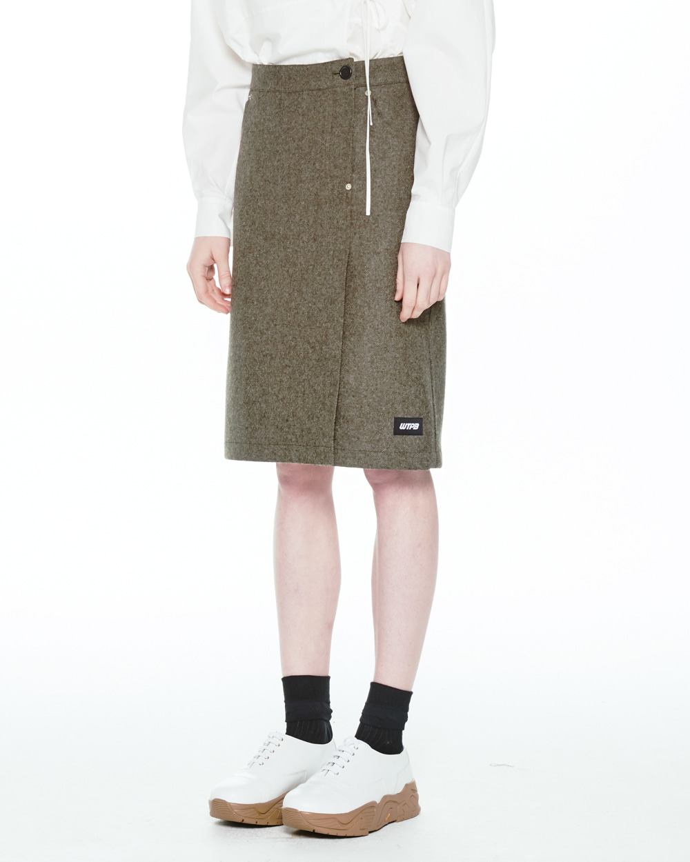 FW20 RIVET DETAIL WOOL SKIRT