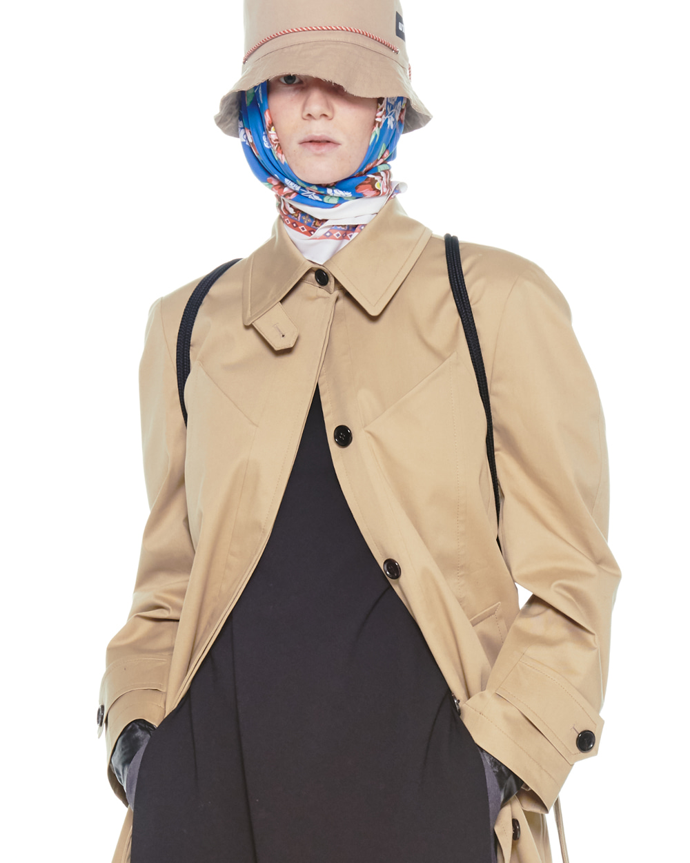 FW20 BUSTIER POCKET SINGLE TRENCH COAT