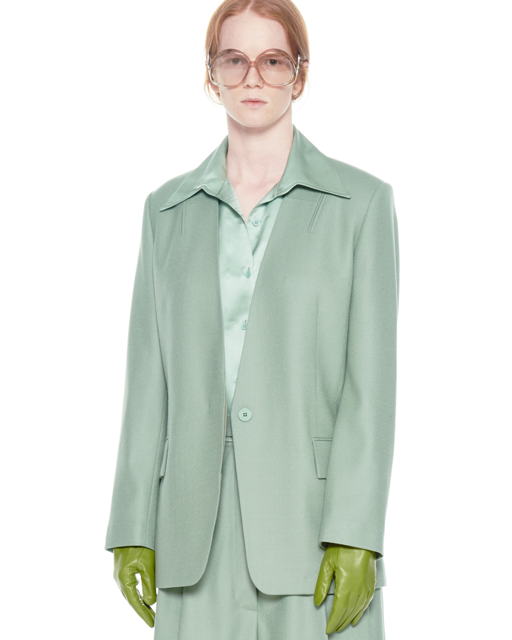 FW20 COLLARLESS POCKET DETAIL MINT JACKET