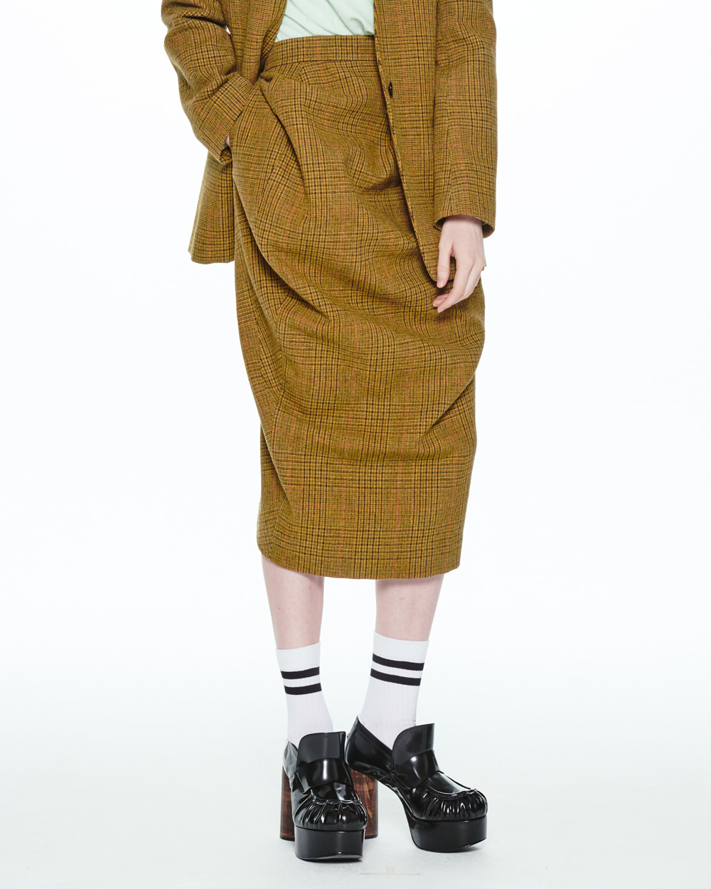 FW20 MIDI BALLOON CHECK SKIRT
