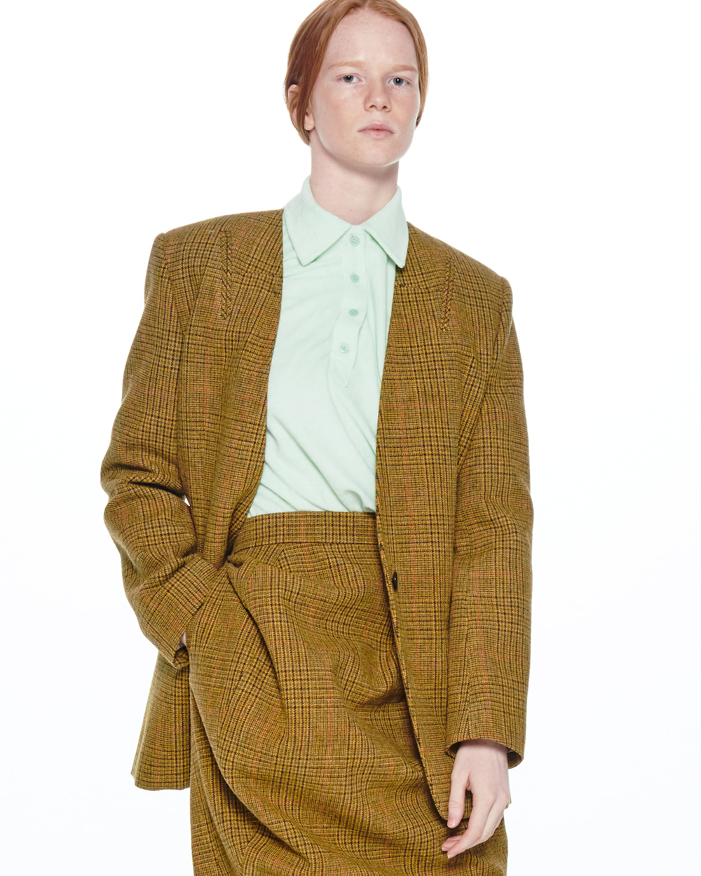 FW20 COLLARLESS POCKET DETAIL CHECK JACKET