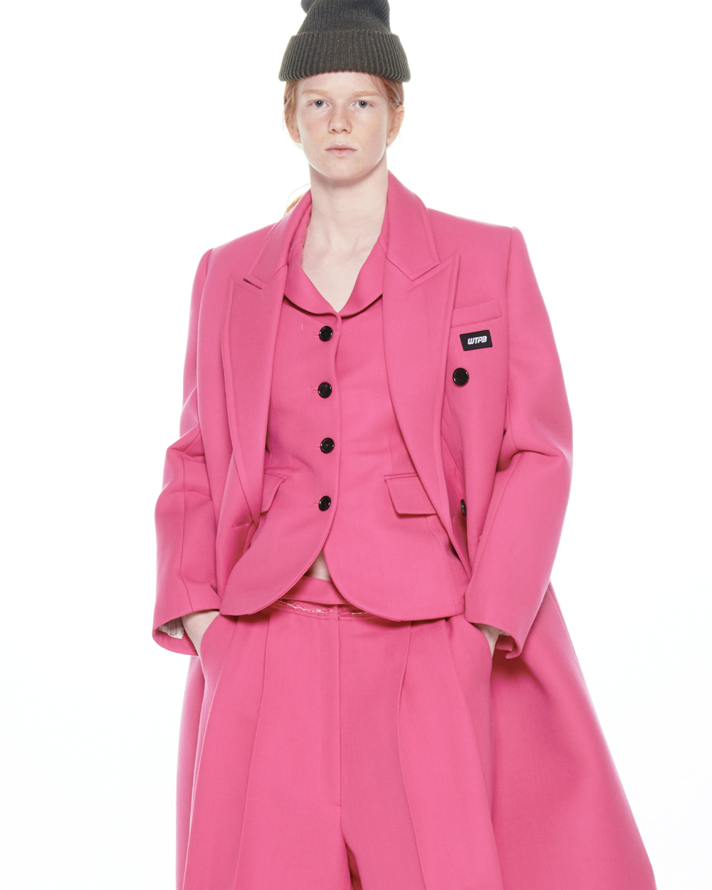 FW20 STRUCTURED DOUBLE PINK COAT