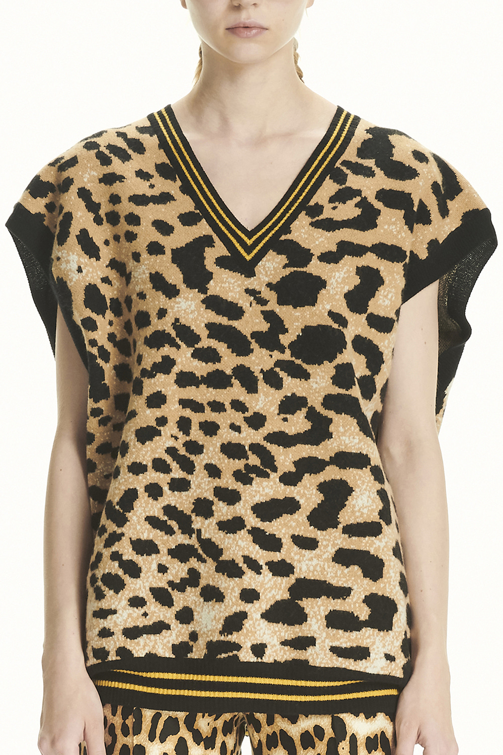 PS21 LEOPARD KNIT OVERSIZED VEST