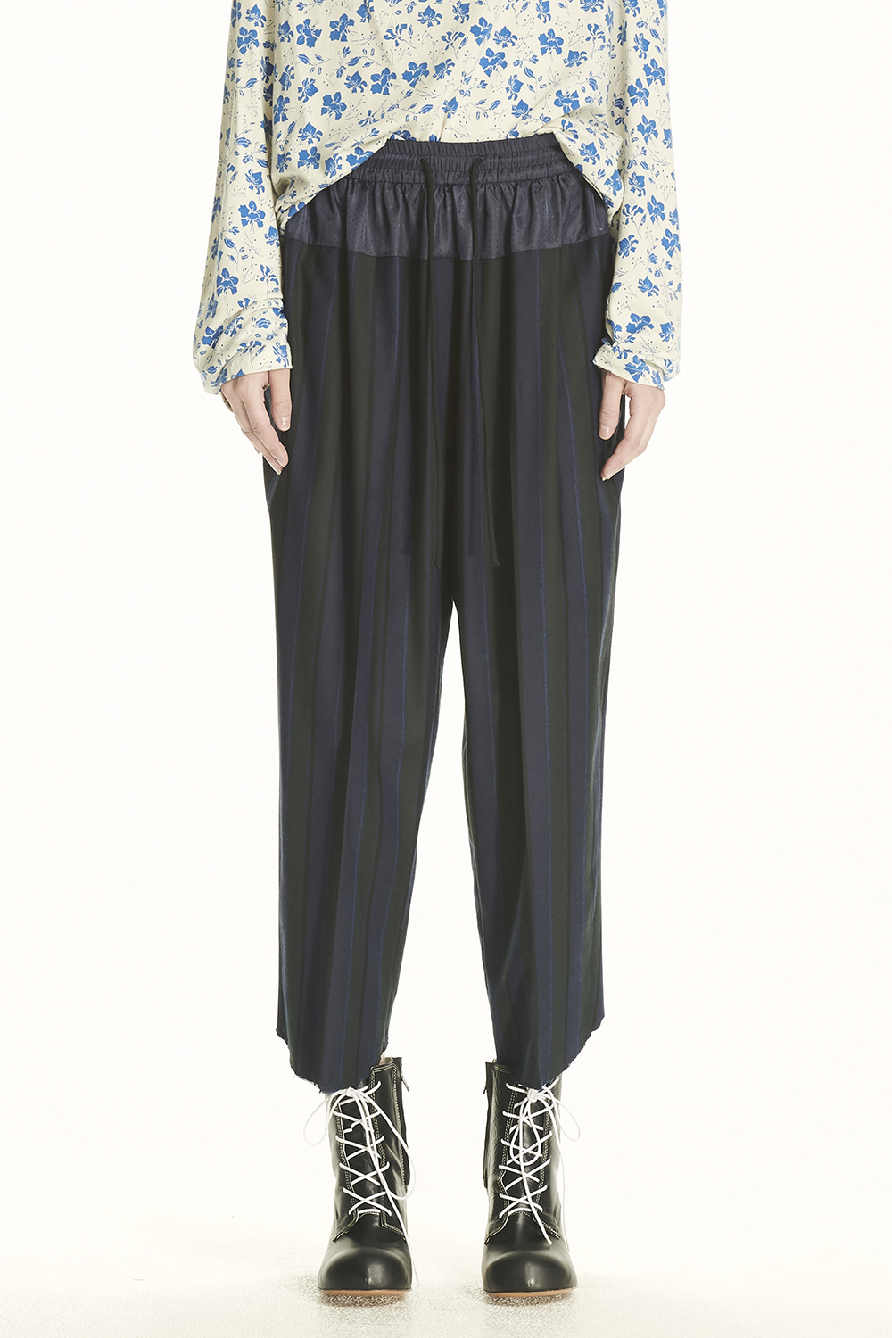PS21 CONTRAST WAIST BAND STRIPE PANTS