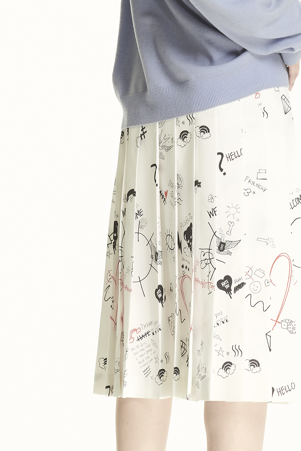 PS21 PLEATED TATTOO PRINT SKIRT