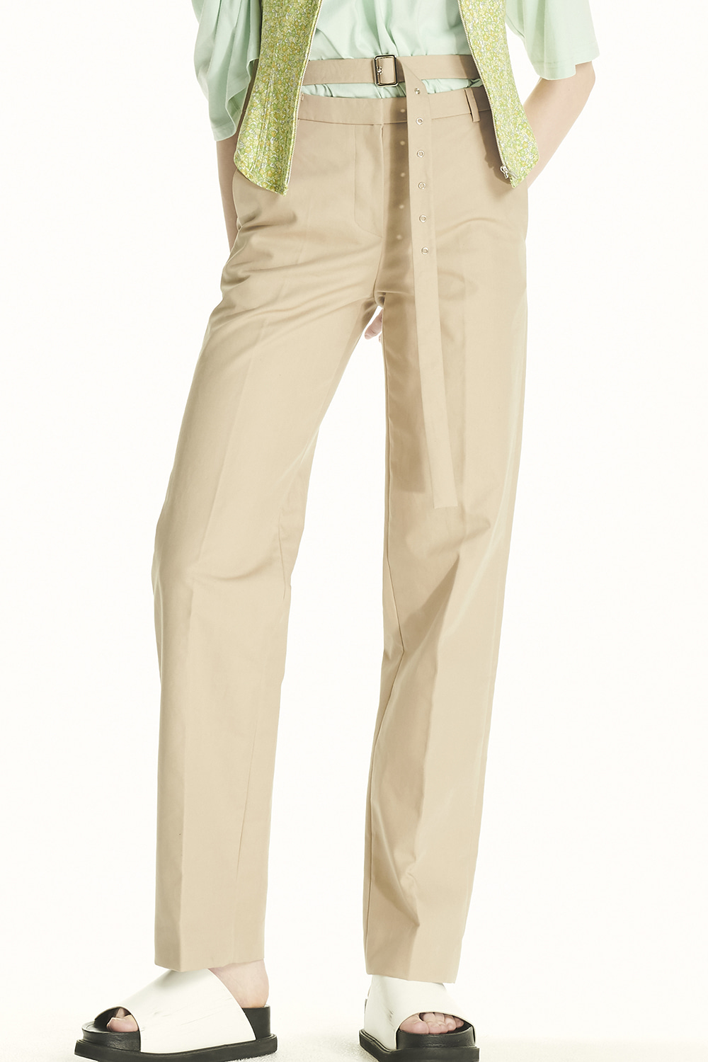 PS21 HIGH WAIST BELTED BEIGE TROUSERS