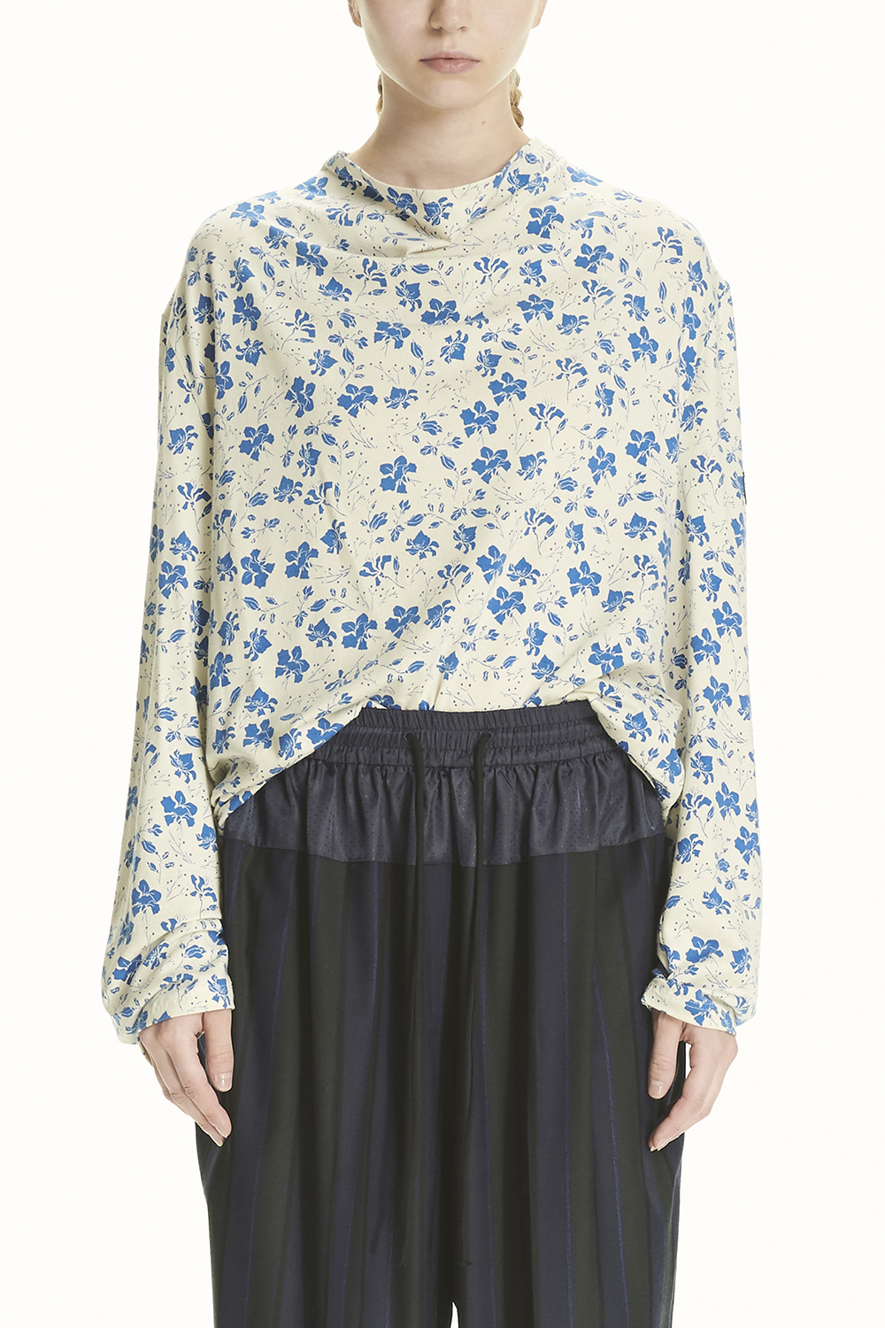 PS21 DRAPED NECK FLORAL TOP