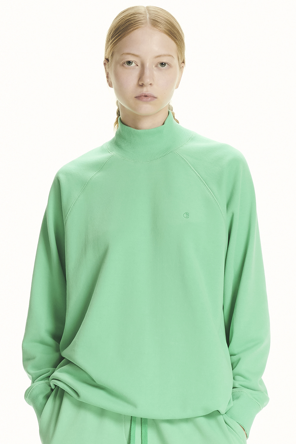 PS21 DRAWSTRING MOCK-NECK GREEN SWEATSHIRT