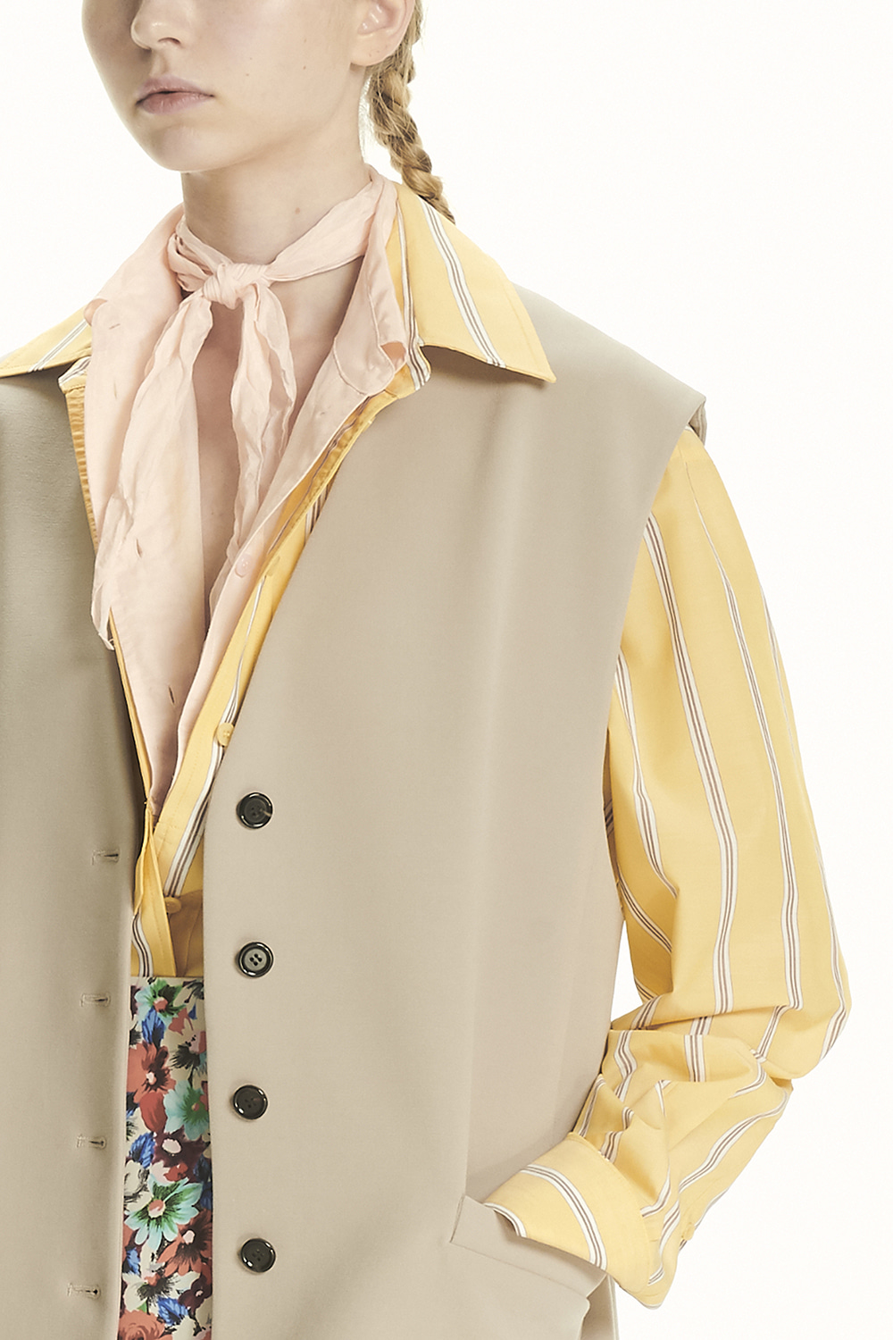 PS21 LAYERED COLLAR YELLOW SHIRT