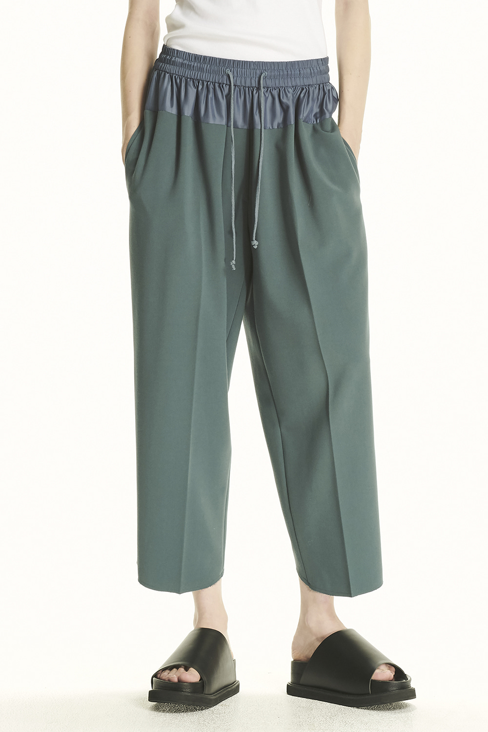 PS21 CONTRAST WAIST BAND GREEN PANTS