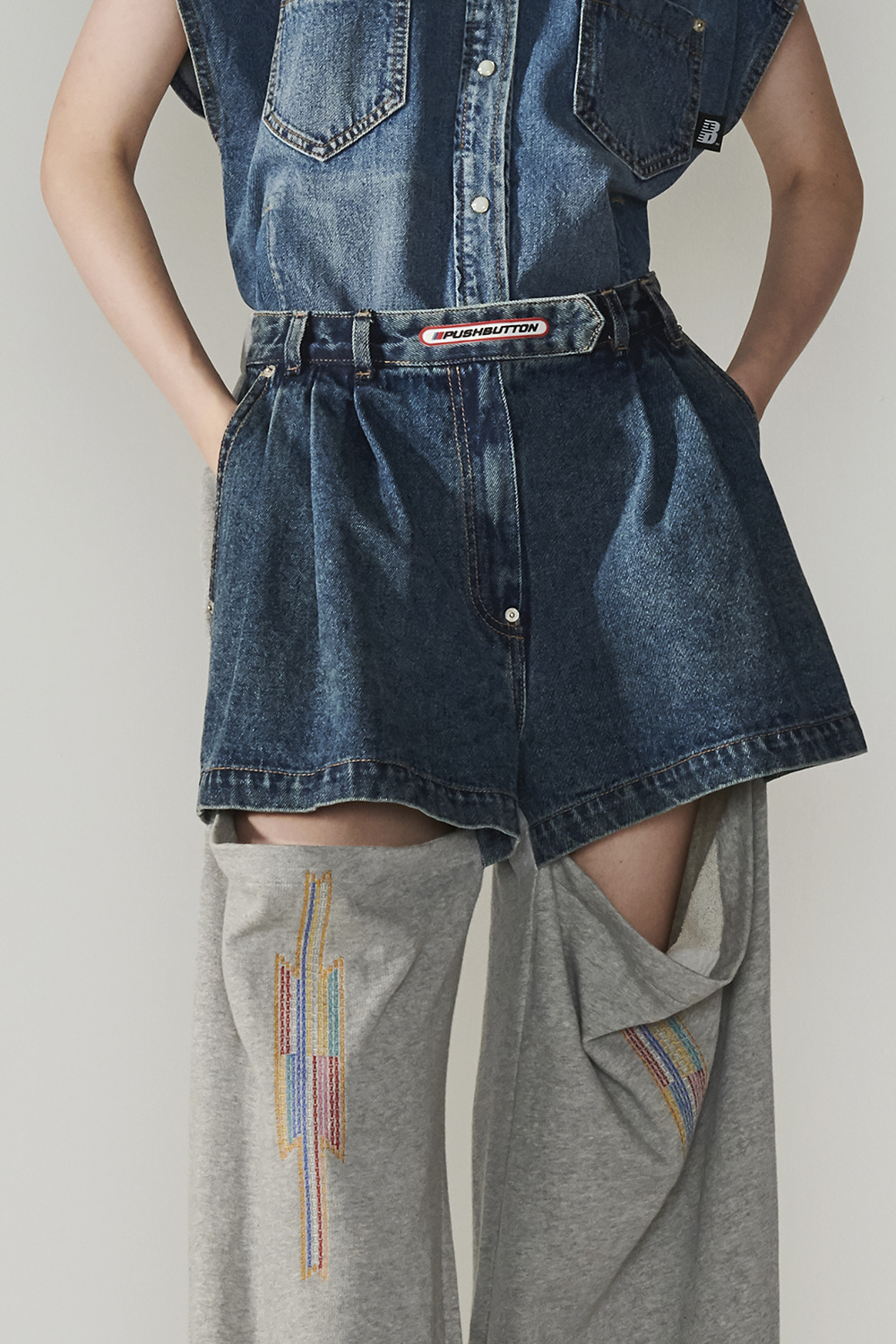 SS21 KNEE SLIT DENIM-JERSEY PANTS
