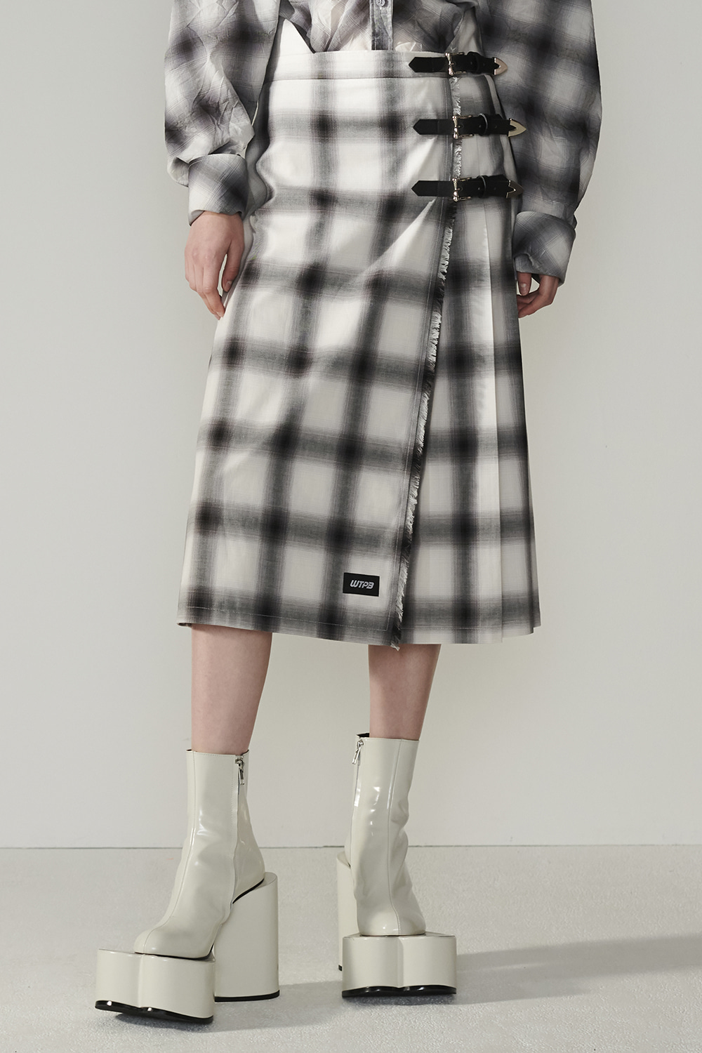 SS21 WRAP OVER BELTED CHECK SKIRT