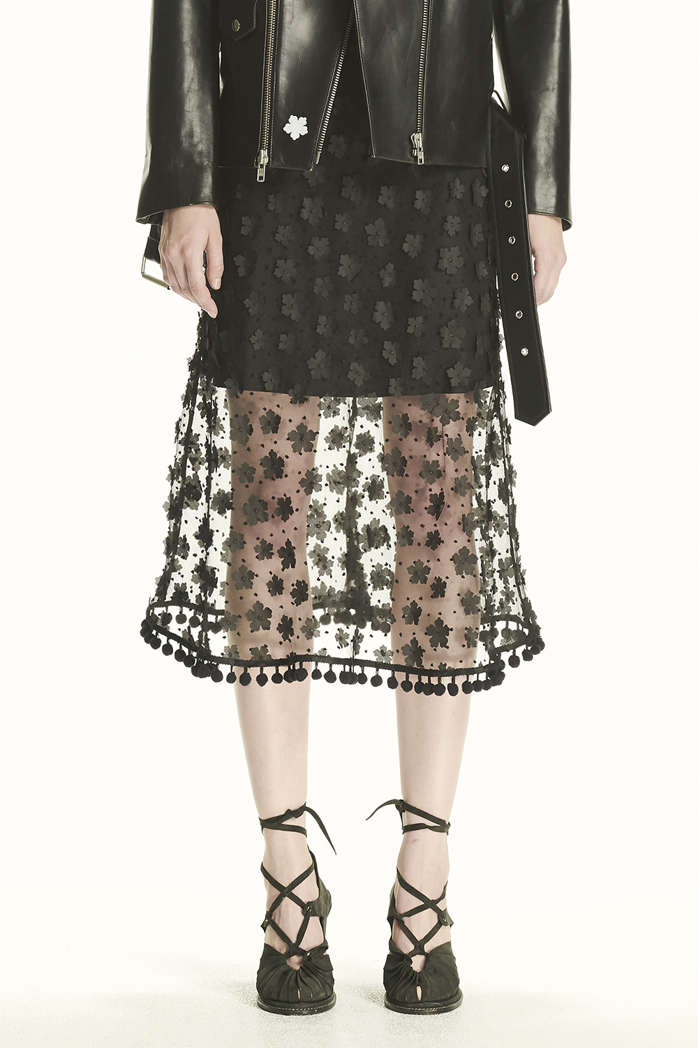 PS21 SHEER APPLIQUE BLACK SKIRT