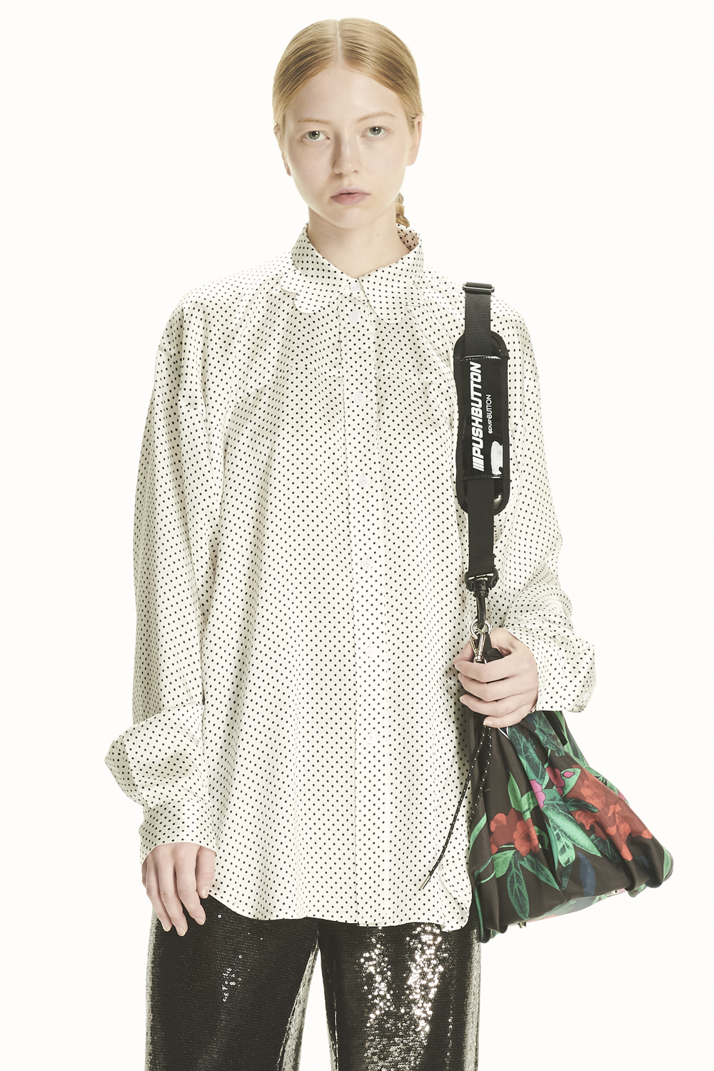 PS21 SCALLOP COLLAR SMALL DOT SHIRT