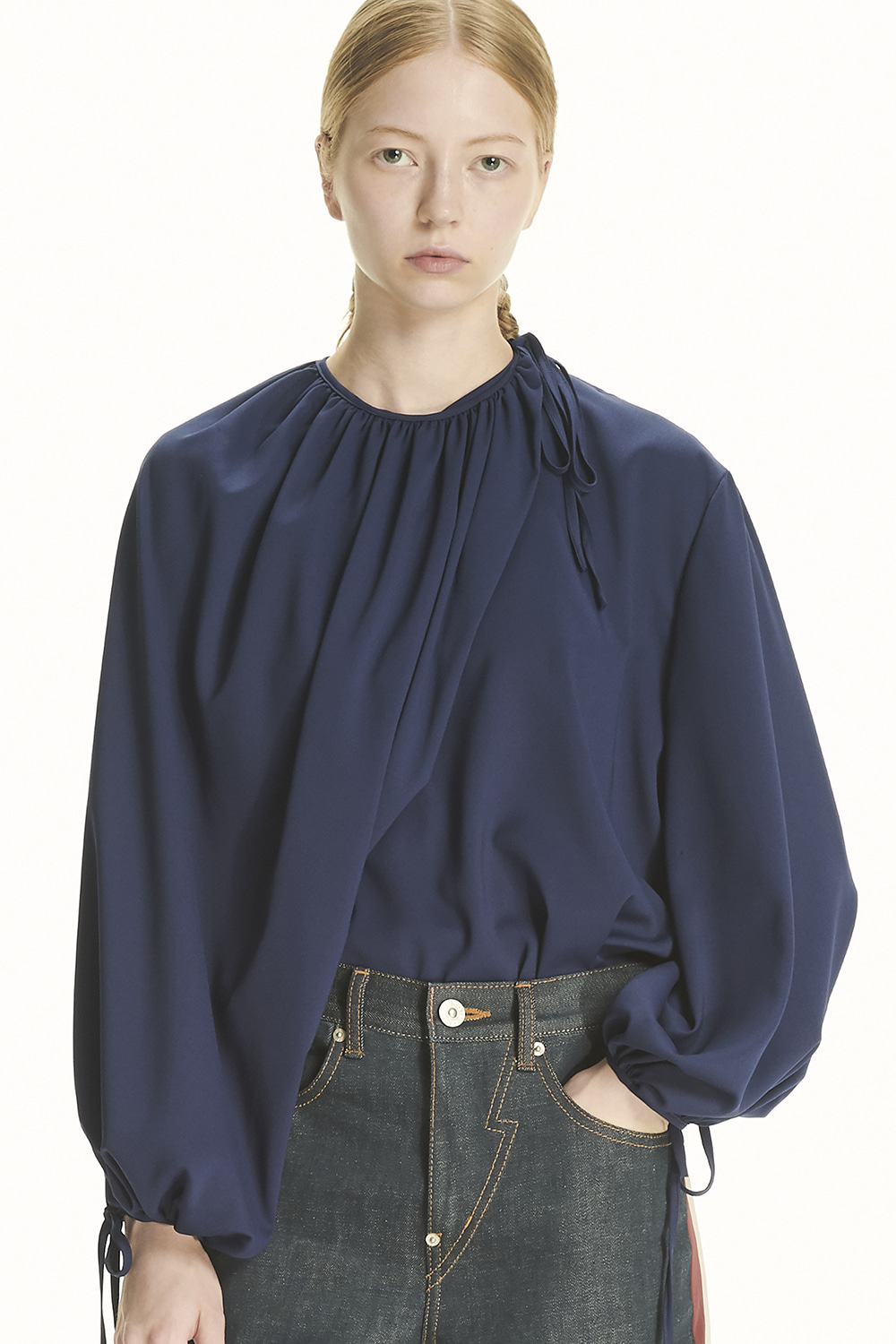 PS21 TWO-WAY NAVY FLOUNCE BLOUSE