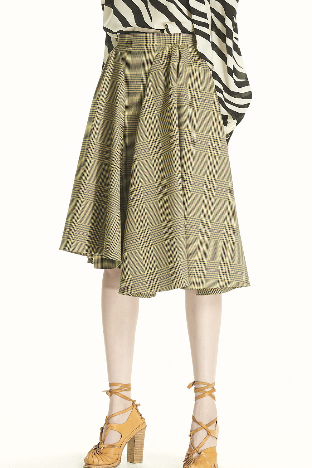 PS21 UNBALANCED PUFF CHECK SKIRT