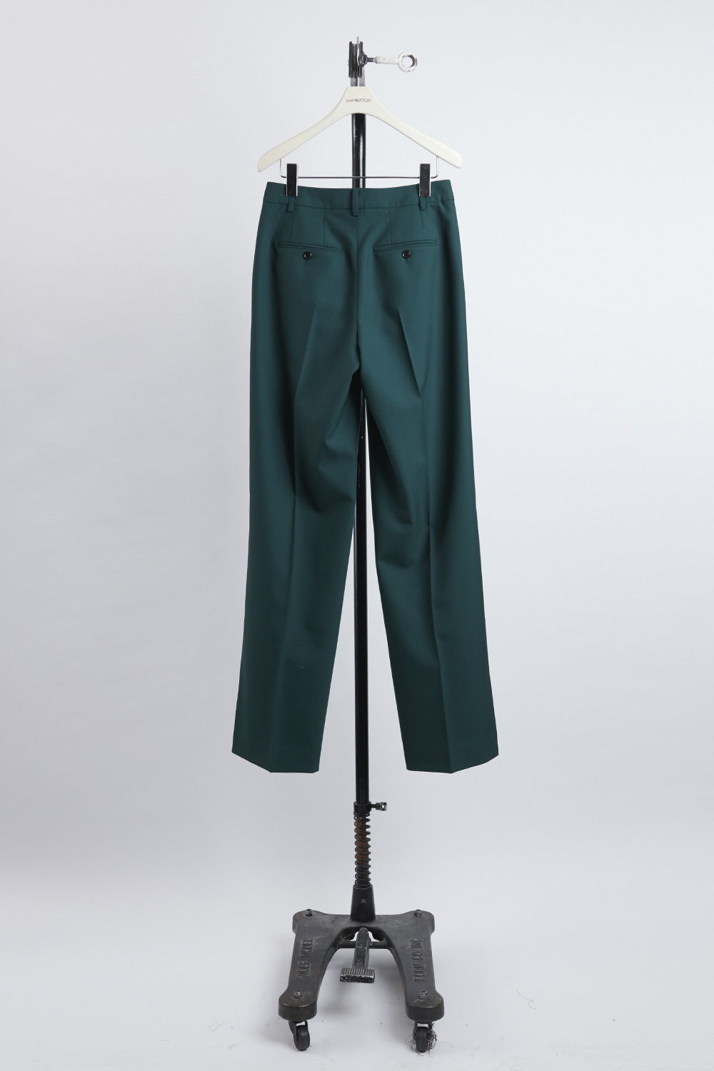 HS21 GREEN SLIT HEM TROUSERS
